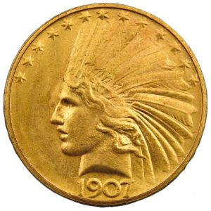 This is an obverse $10 dollar Indian Head Eagle gold coin - $10 gold coin