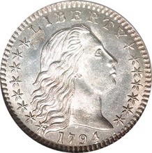 Early American coins like this 1794 Flowing Hair half dime feature some classic depictions of Lady Liberty.