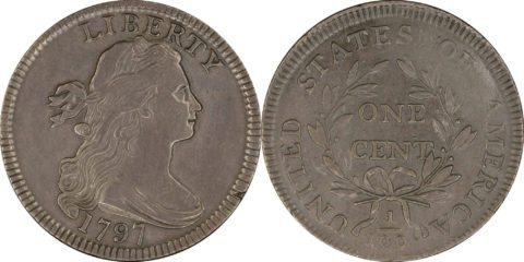 This is a 1797 large cent coin - the first U.S. penny