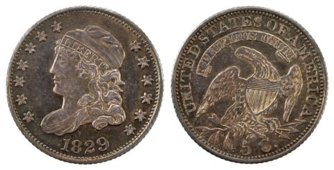 1829 Capped Bust half dime.