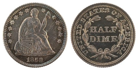 1858 Seated Liberty half dime