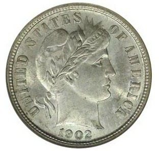This is a 1902 Liberty head dime - also called a Barber dime.