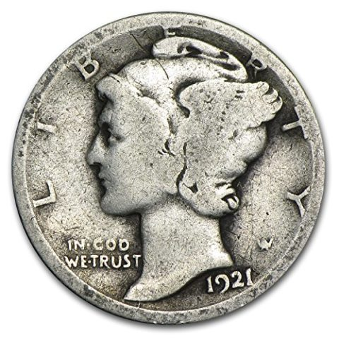This is a 1921 Mercury dime.