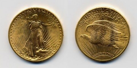 The 1924 Saint-Gaudens double eagle coin is a good example of a regular relief coin.