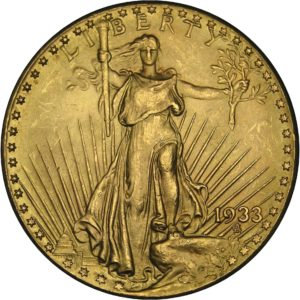 This is the obverse of a 1933 $20 Saint Gaudens Double Eagle gold coin - $20 gold coin.