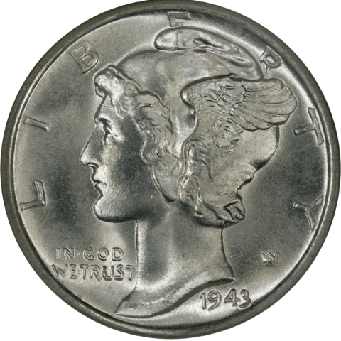 This is a 1943 Mercury dime - winged Liberty head dime.