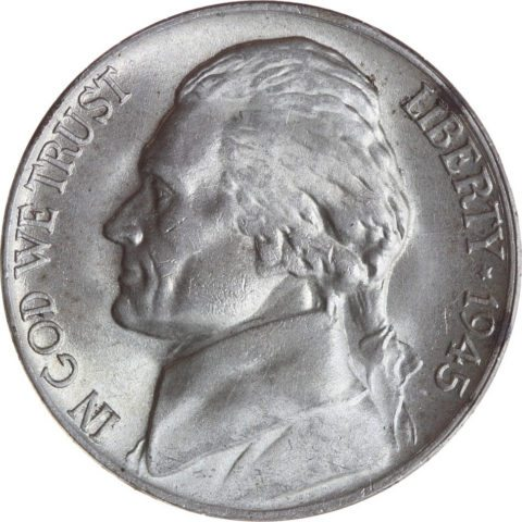 This is a 1945 wartime silver nickel.