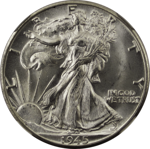 This is a 1945 Walking Liberty half dollar coin