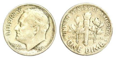 1946 Roosevelt dime - this was the first year Roosevelt dimes were made.