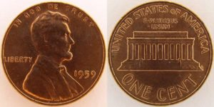 This is a 1959 Lincoln cent - the first year the Lincoln Memorial appeared on U.S. pennies.