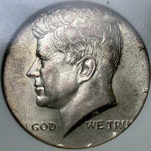 Wrong metal error coin sample - the obverse of a half dollar on a quarter planchet.