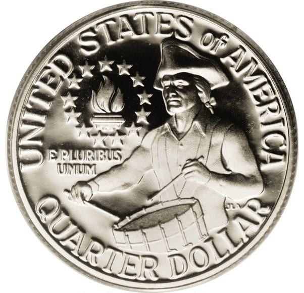 The 1976 Bicentennial quarter has a 1776-1976 dual date on the obverse and this special design of a colonial drummer boy on the reverse. Bicentennial quarters were made in 1975 and 1976.