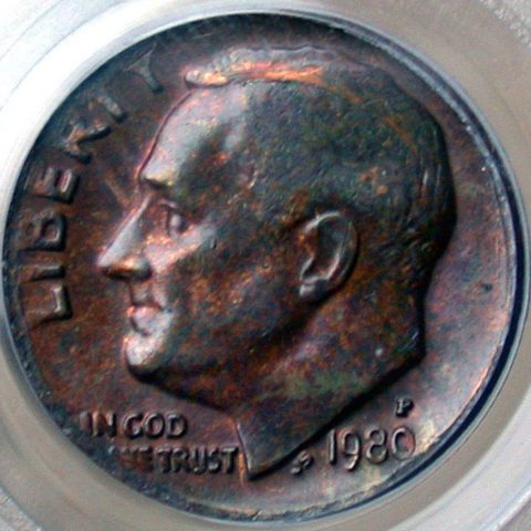 1980 dime with obverse missing clad layer