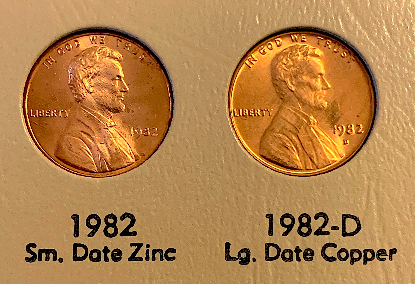 1982 small date penny vs. 1982 large date penny