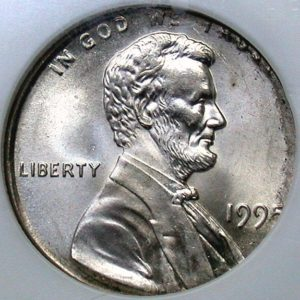 Wrong metal error coin example - the obverse of a 1995 penny on a dime planchet.