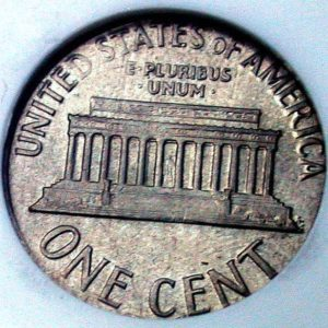 Wrong metal error coin example - the reverse of a 1995 penny on a dime planchet.