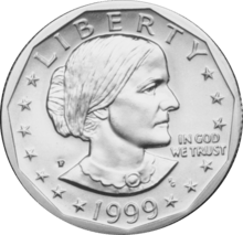1999 Susan B. Anthony dollar coin obverse
