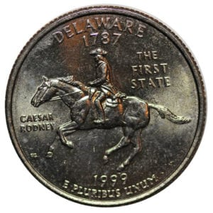 This is a regular 1999 Delaware quarter. It is not the Spitting Horse quarter.