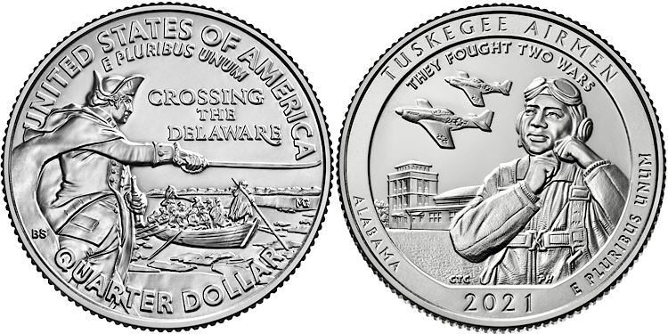 The two 2021 quarters feature the Tuskegee airmen and George Washington crossing the Delaware River. Some 2021 quarters are rare and valuable and worth much more than face value.