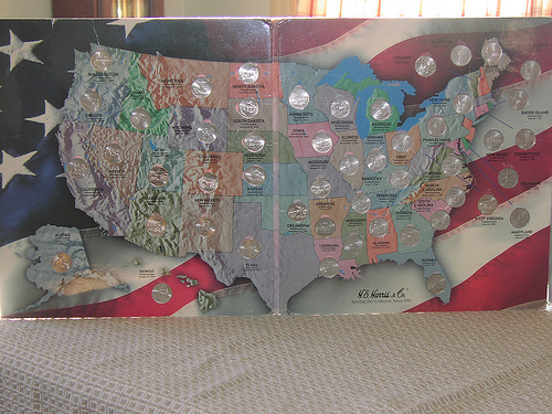 Us state quarters collector map on