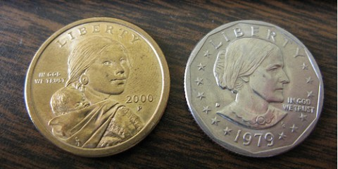 The Sacagawea dollar coin and the Susan B. Anthony dollar coin