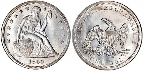 The Seated Liberty dollar has the eagle on the reverse as opposed to the wreath on the reverse of the Liberty Seated dime.