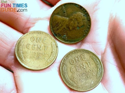 Some of the wheat pennies I found -- wheat pennies from any year are worth at least 5 cents apiece.