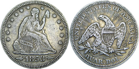 1853 Arrows Seated Liberty Quarter