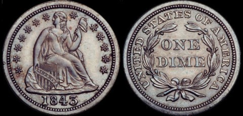 Seated Liberty dimes were made from 1837 through 1891.