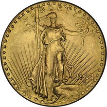 One of the most popular coins of all time is this Lady Liberty coin -- a St Gaudens Gold Double Eagle coin.