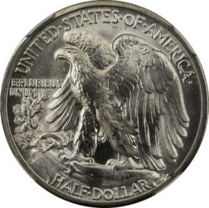 reverse side of walking liberty half dollar coin