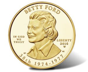 This is the Betty Ford $10 gold coin released as part of the First Spouse coin program - obverse