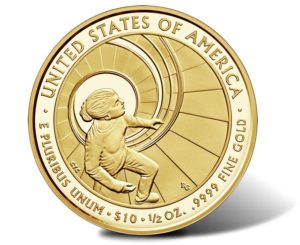 This is the Betty Ford $10 gold coin released as part of the First Spouse coin program - reverse