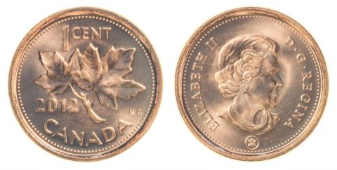Canada penny - the obverse and reverse Canadian penny