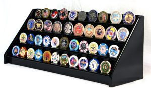 A display case for military challenge coins