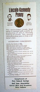 Commemorative Lincoln-Kennedy penny that I've saved through the years. CLICK to view the list of 'Astonishing Coincidences'.