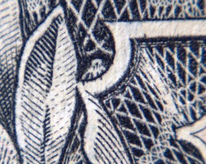A closeup of the owl / spider on the one dollar bill