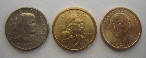 3 U.S. dollar coins (left to right): the Susan B. Anthony dollar coin, Sacagawea dollar coin, and Presidential dollar coin.