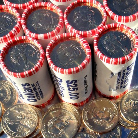 Dollar coin rolls - bank rolls of dollar coins cost $25 apiece and contain 25 coins