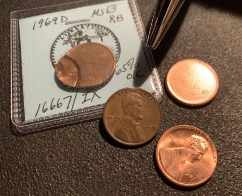 Several types of common Mint error coins are pictured here.