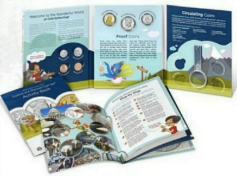 This is the U.S. Mint's Explore & Discover coin collecting kit for kids.