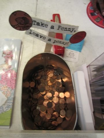 One way to find valuable pennies is to look through the 'take a penny, leave a penny' jars that appear near cash registers. (Just ask permission first, and be sure to leave some pennies of your own in return!)