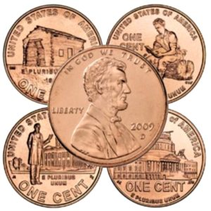 These are the 4 designs that appear on the back of the 2009 Lincoln Bicentennial pennies.