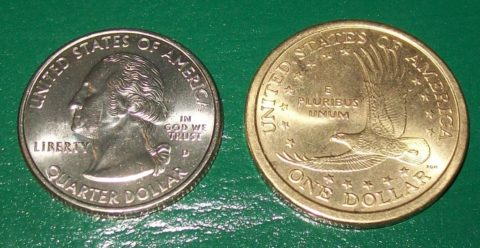 One of the most famous mule coins shows the obverse of a Washington State Quarter and the reverse of a Sacagawea Dollar coin.