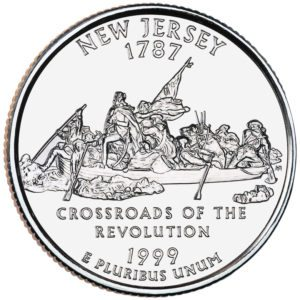 The 1999 New Jersey state quarter features George Washington crossing the delaware.