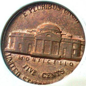 Wrong metal error coin photo - the reverse of a nickel on a cent planchet.