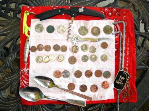 These are some of the old coins and other metal treasures found with a metal detector.