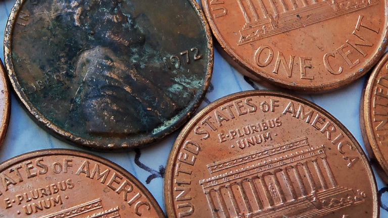 how to clean corrosion off copper pennies