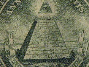 A closeup of the pyramid on U.S. paper money.