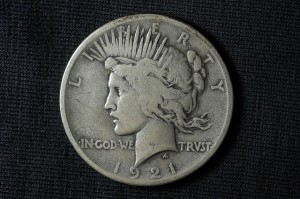 Peace dollars were minted from 1921 to 1935.